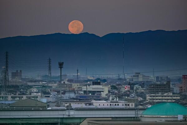 今朝の月没