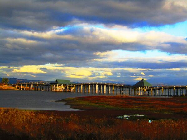 夕陽の鶴の舞橋
