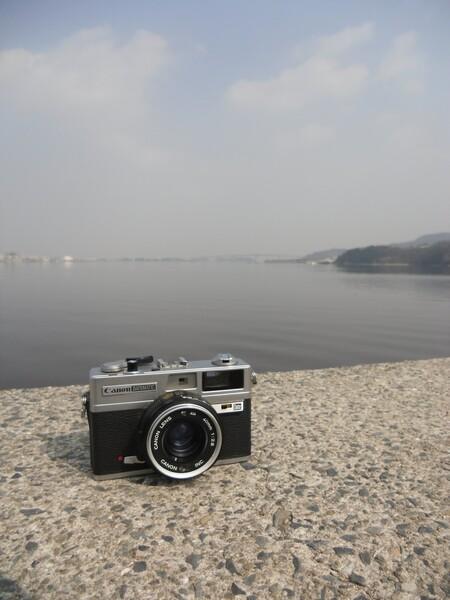 児島淡水湖堤防にて