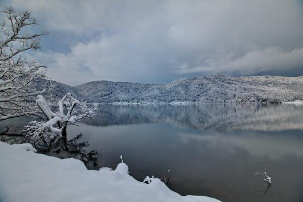 雪の湖に静寂が聞こえる・・