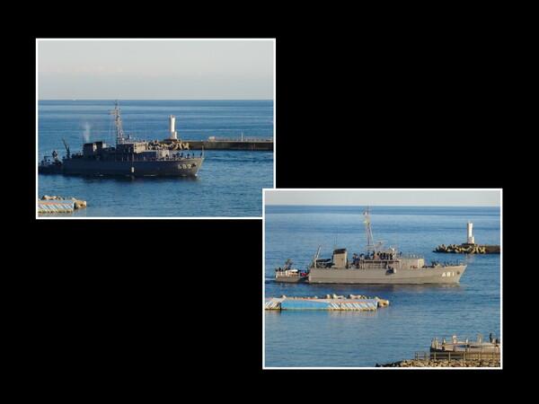海上自衛隊・掃海艇2隻が熱海港に入港