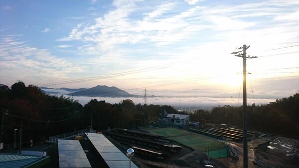 朝の街並みにかかる雲海