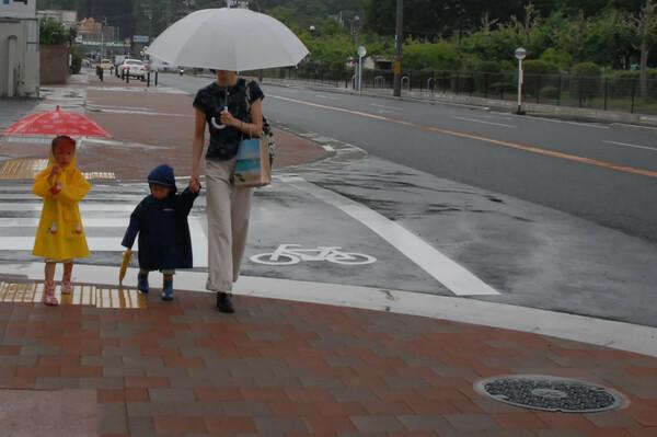 雨の中の散歩