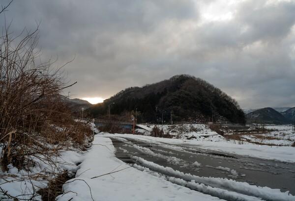 朝の雪景色。