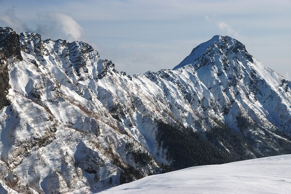 座する赤岳