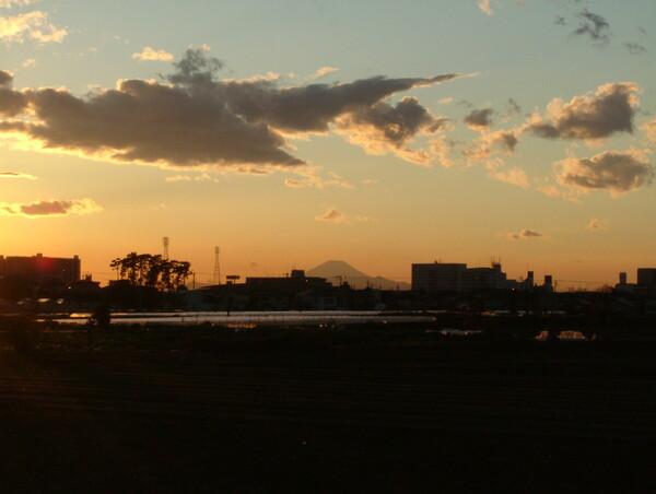 夕焼け富士?