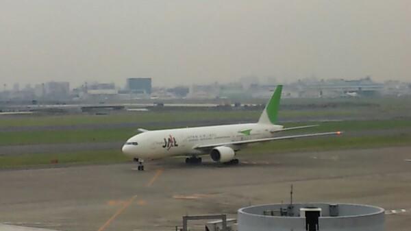 緑のJAL機