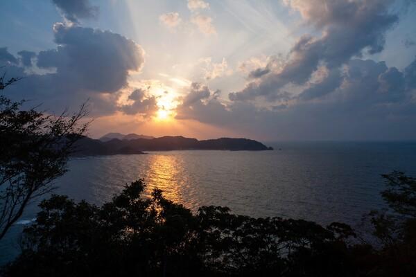 日本海への日の入り。
