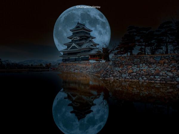 【情景】松本城と満月