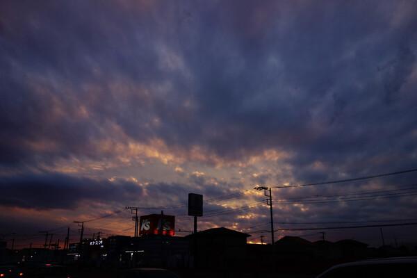 自転車で帰宅を急ぐ時に見た夕焼け
