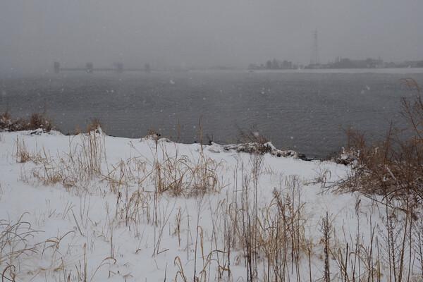 雪の河川敷