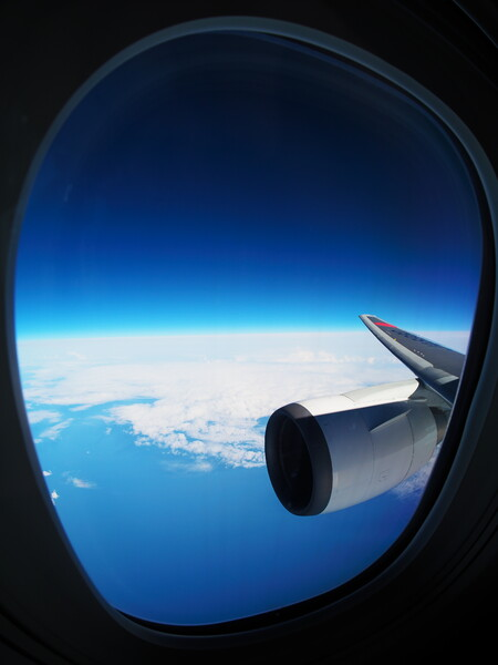 【花・空のある風景】帰り道の機窓