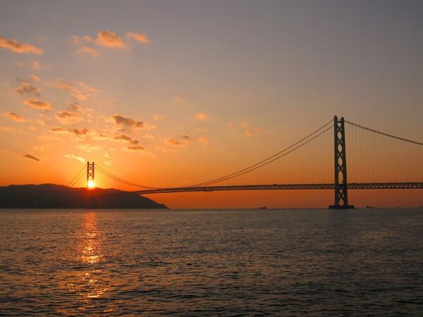 パールブリッジに沈む夕日